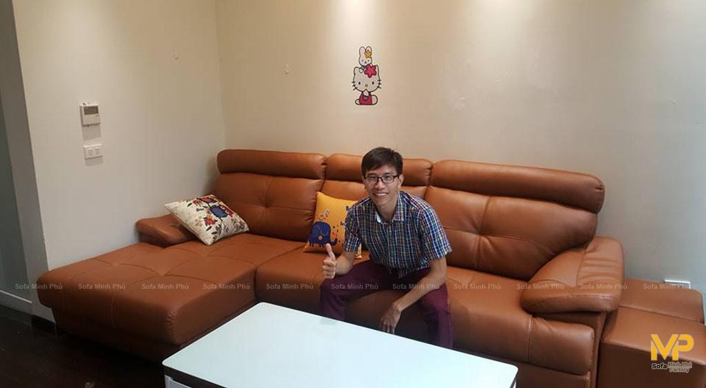 Ghế sofa da cao cấp bàn giao cho anh Dũng – Thái Hà