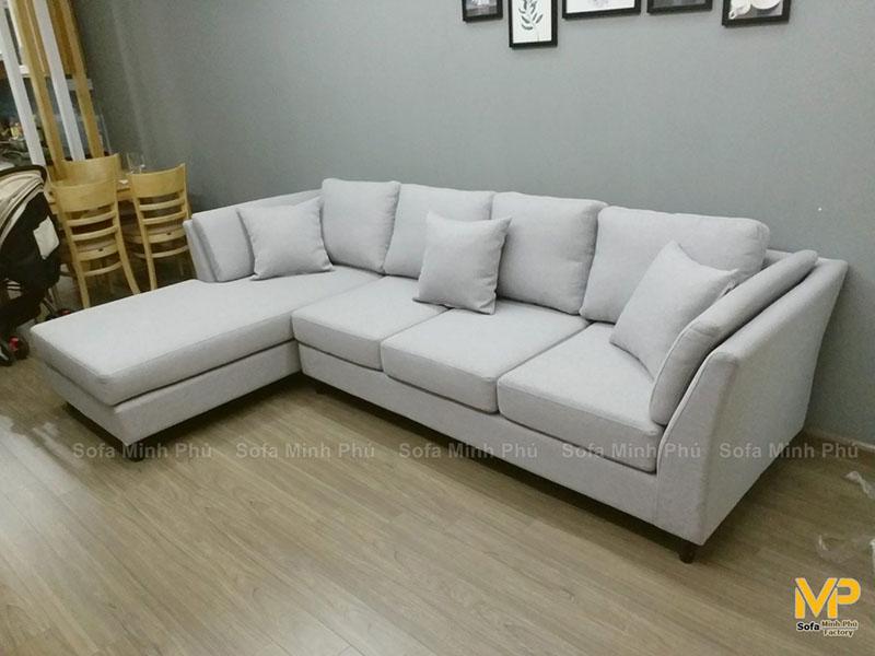 Bàn giao sofa góc nỉ anh Lê Anh – Bán đảo Linh Đàm